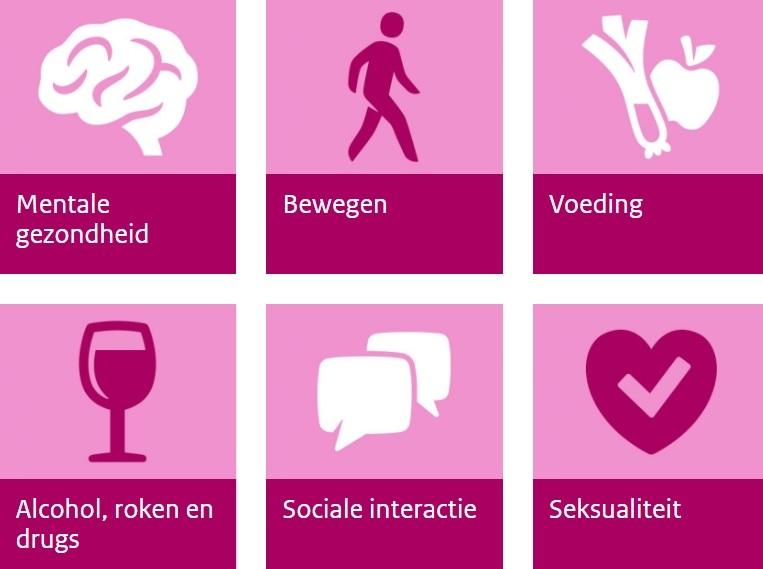 De verschillende leefstijlthema's in beeld: Mentale gezondheid, bewegen, voeding, alcohol, roken en drugs, sociale interactie en seksualiteit