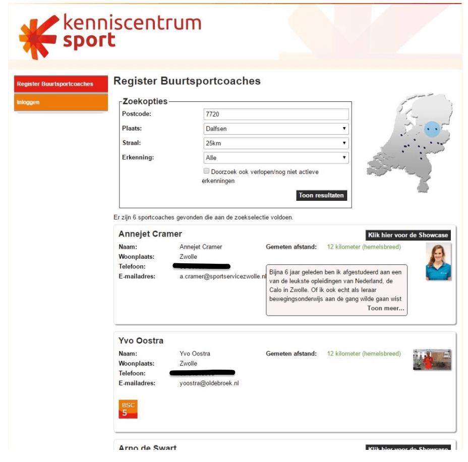schermafbeelding van het digitale register met een zoekvenster en gevonden resultaten van buurtsportcoaches met hun gegevens