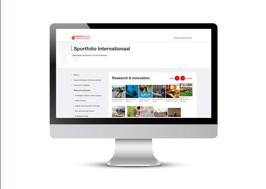 Screen with webpage Sportfolio showcase
